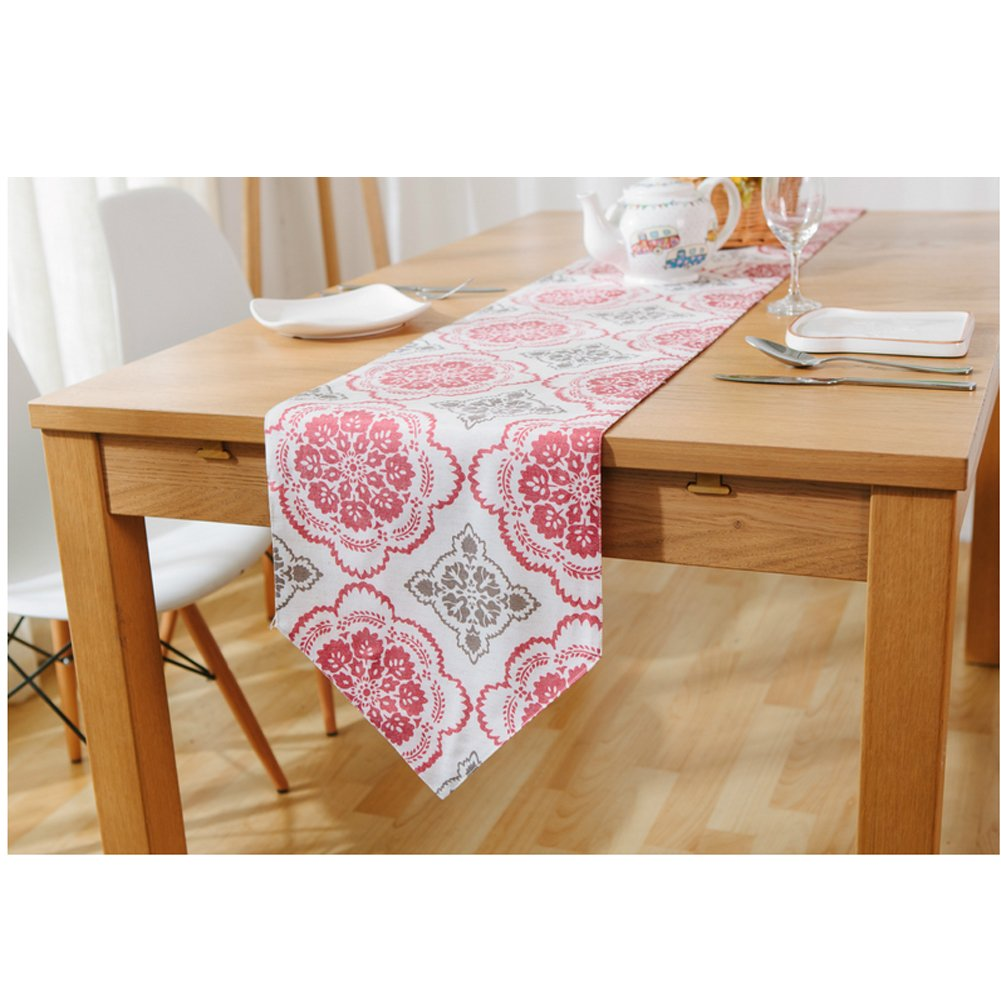 Linen Cotton Ethnic Table Runner/Flag - Red Window Grille Bed Runner Dining Table Decor 12 x 71 Inch