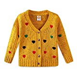Mud Kingdom Girls Cardigan Sweaters Cute Colorful Love Size 6 Yellow