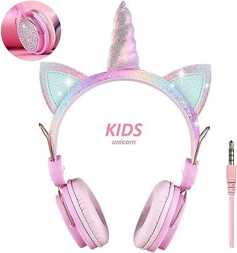 KORABA Kids Headphones 3.5mm Wired Unicorn Girls Headsets for Christmas School Travel Birthday Gifts Festivals