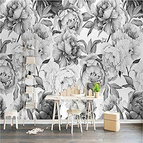 Djskhf 北欧の黒と白の牡丹の花3D壁紙の壁3Dヴィンテージ壁紙装飾画の背景の家の改善 280X200Cm