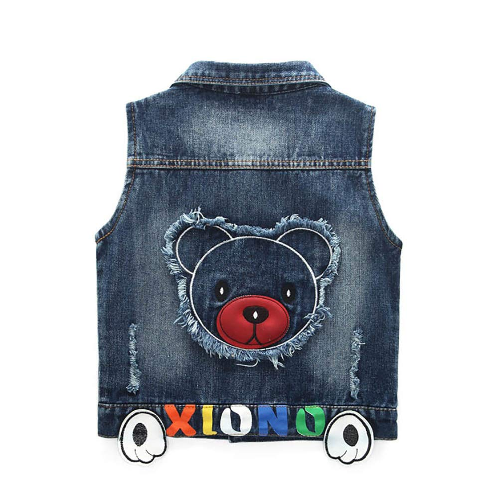 Peacolate Little Boy Single Breasted Cute Embroidered Denim Vest