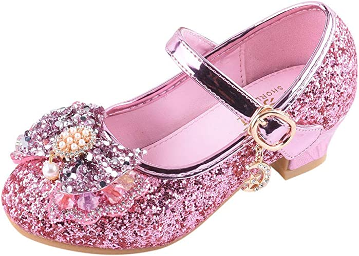 Girls Kids Party Bling Sandals Children Ballroom Heeled Tango Latin Dance Shoes