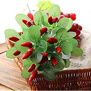 HTFGNC 3 Bunches Simulation Hot Pepper Grass Artificial Pepper Fruit Chili Bunch Fake Plant Party Office Decor 55