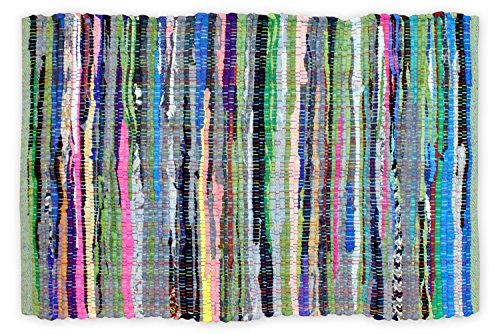 Recycled Rag Rugs - DII Contemporary Reversible Indoor Area Rag Rug, Machine Washable, Handmade from Recycled Fabrics, Unique For Bedroom, Living Room, Kitchen, Nursery and more,, 4 x 6' - Multi Colored (Color may vary)