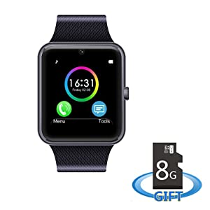 MSRM MS08-Black Sweatproof Smart Watch Phone for iPhone 5s/6/6s and 4.2 Android or Above SmartPhones Include 8G Micro SD Card