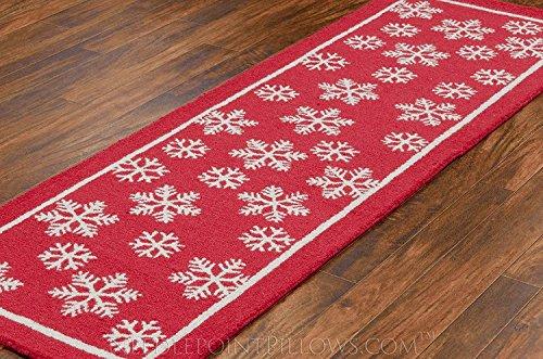 Handmade Snowflake 100 Wool Winter Decorative Red White