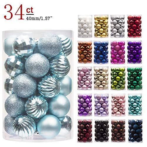 KI Store 34ct Christmas Ball Ornaments Shatterproof Christmas Decorations Tree Balls for Holiday Wedding Party Decoration, Tree Ornaments Hooks Included 1.57