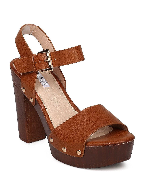 9e734f89ec Alrisco Women Leatherette Open Toe Faux Wooden Platform Chunky Heel Sandal  GE64