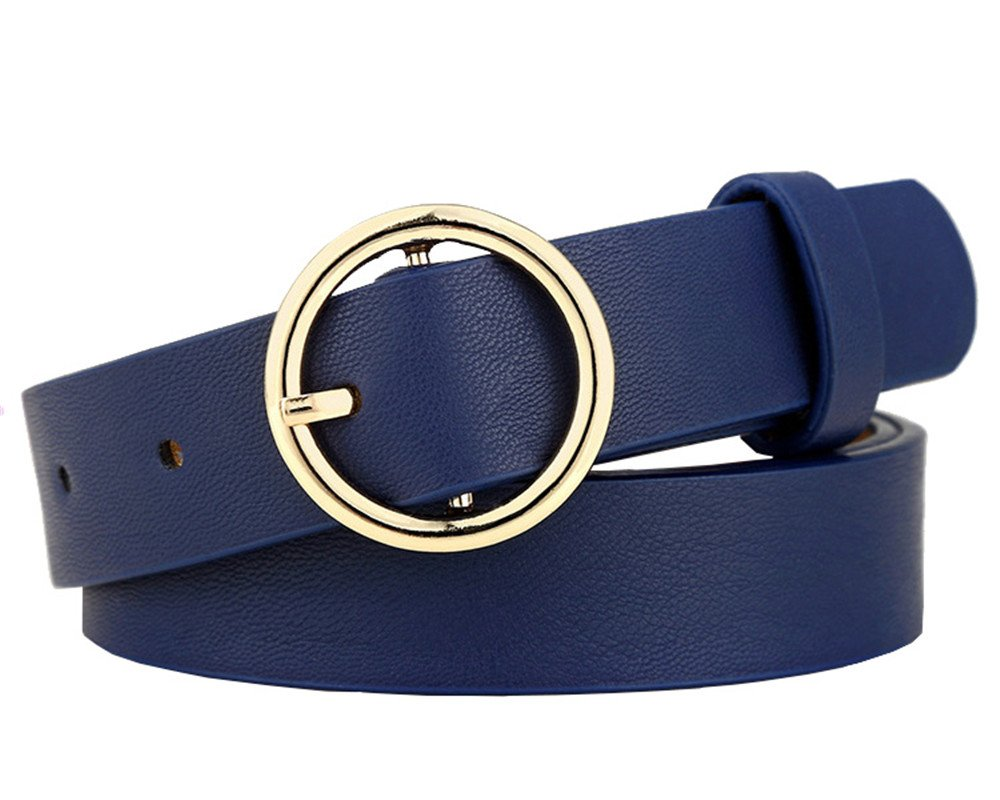 Womens Skinny PU Leather Jeans Belt with Round Single Prong Buckle 1'' Wide(Royal, 105cm)