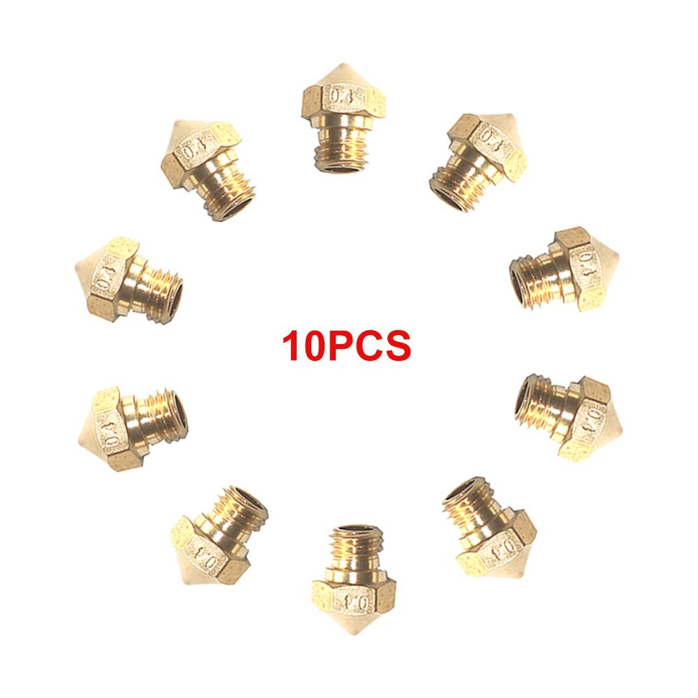 Mech Solutions Ltd 10pcs 0.4 mm MK10 Extruder 3D Printer Nozzle for 3D Printer (FlashForge, Wanhao, PowerSpec,etc) MK10-0.4