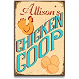 Personalized Metal Signs Vintage Wall Decor CHICKEN COOP Custom Name Metal Wall Signs