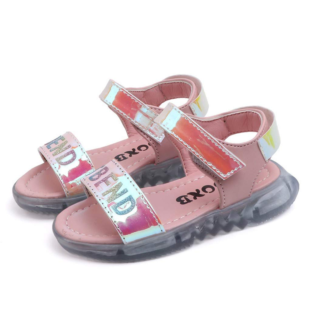 Innerternet Fille Piscine Plage /Ét/é Sandales de Marche Ext/érieur Plates Confortables Flexibles Chaussures /à Bout Ouvert Lumi/ère LED Mignon Tongs Antid/érapant