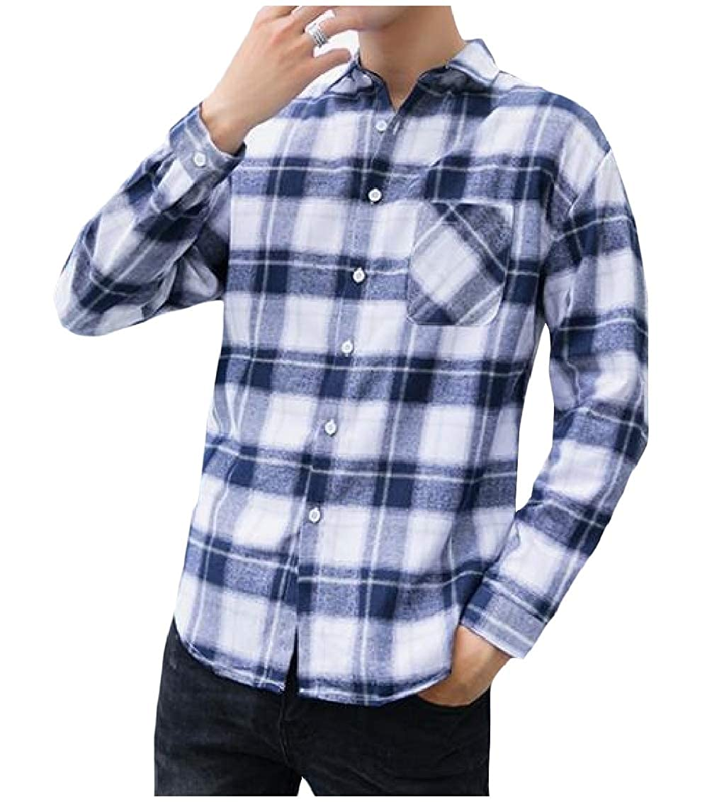 Freely Mens Open Front Long-Sleeve Square Collar Plaid Pattern Longshirt