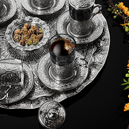 Silver Turkish Tea Set for Six People with Tray