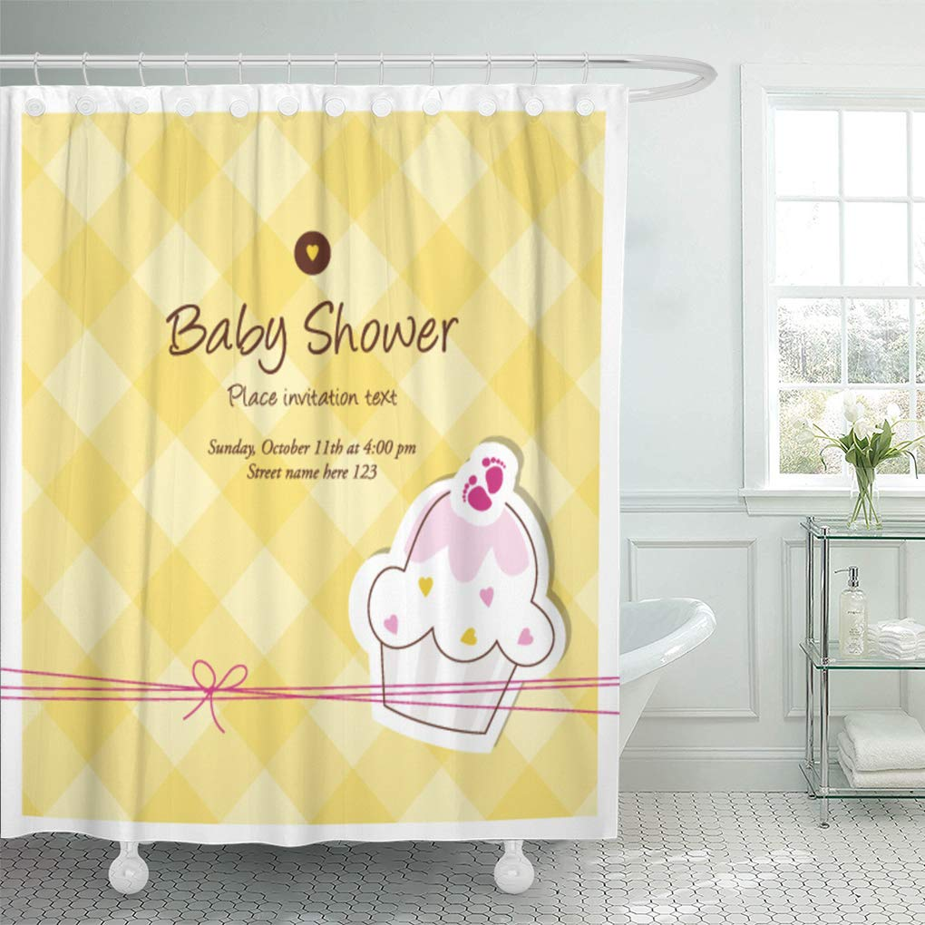 Emvency Shower Curtain Cup Announcement Cupcake Recipe Birth Feet Girl Cake Adorable Shower Curtains Sets with Hooks 72 x 78 Inches Waterproof Polyester Fabric by Emvency