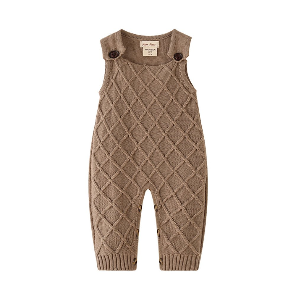 Auro Mesa Newborn Baby knit overalls toddler Boys knitted Clothes Sleeveless Baby Winter Clothes (3-6M)