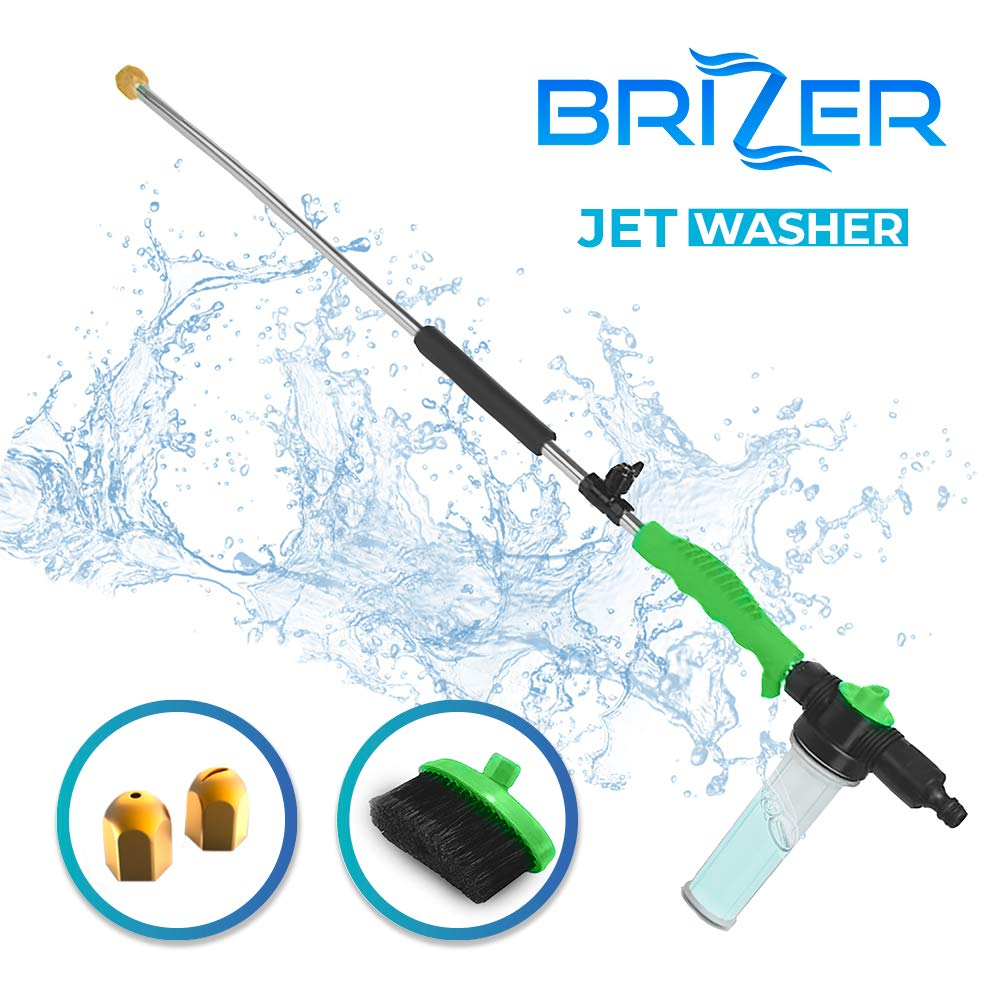 Hydro Jet Sprayer for High Pressure Power Washer Wand - 30 Inch + 9 Inch Long Extendable Sprayer, Hose Nozzle, for Car Washer, Window Water Cleaner, Glass Cleaning Tool, 2 Tips- Green 40 psi by Brizer