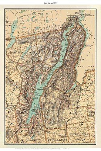 Lake George 1895 Map New York Custom reprint Bien State - State New George York Lake