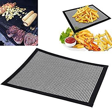 Reusable Non-stick Black BBQ Grill Mat Barbecue Baking Liner Cooking Sheet