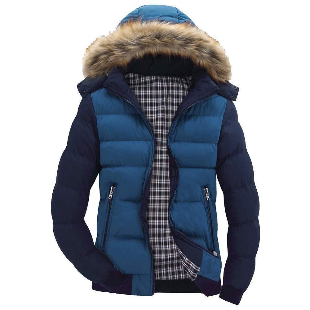 Clearance!Men Winter Warm CoatMen's Winter Warm Hooded Zipped Thick Solid Fleece Coat Cotton-Padded Jacket(2XL,Blue) by Annhoo Men Winter Coat