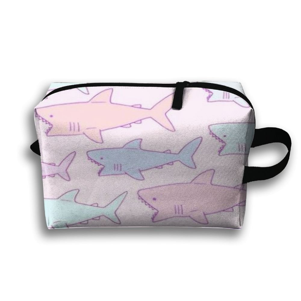 4b2b37c37c7e Amazon.com: LINGMEI Portable Makeup Pouch Pink Shark Travel Cosmetic ...