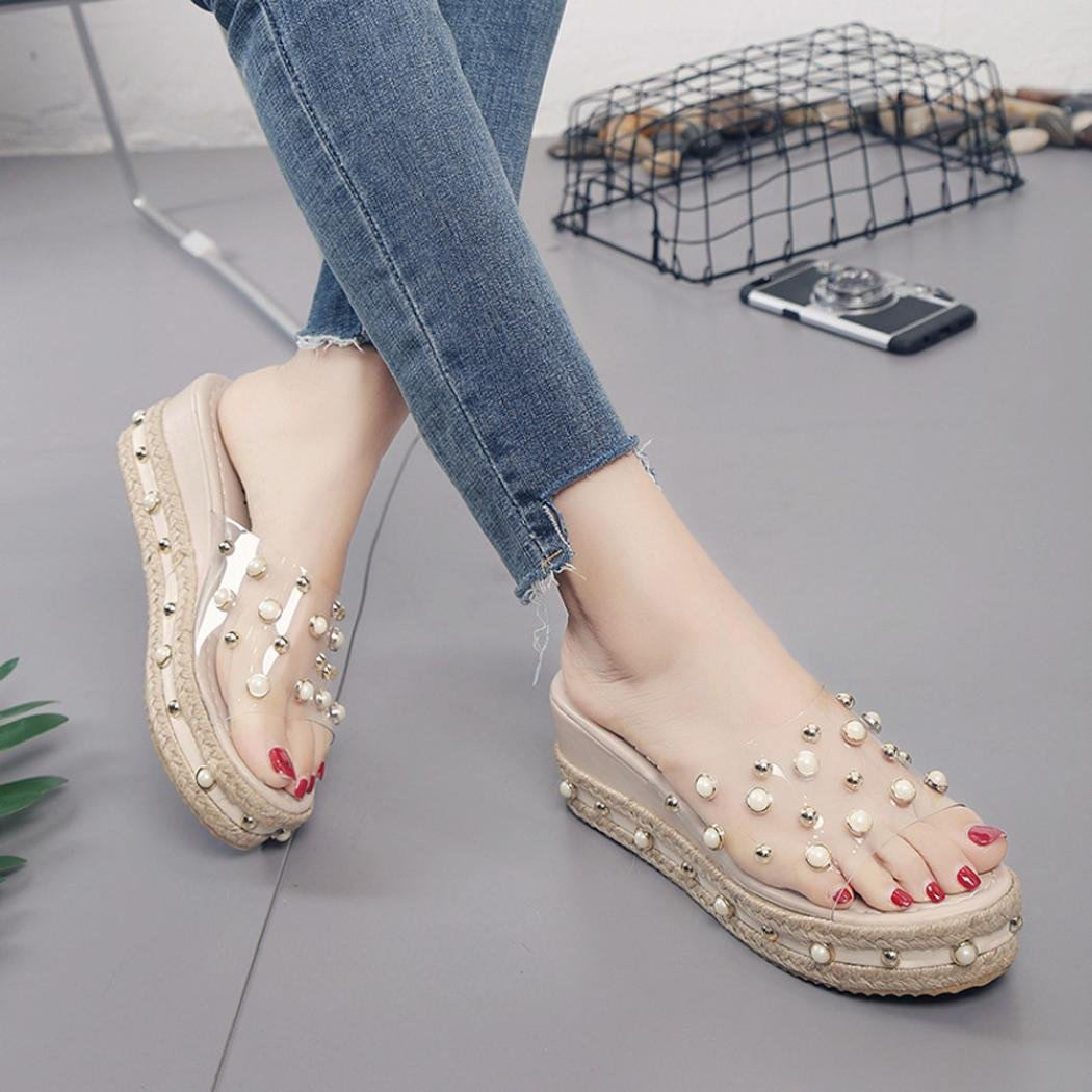 Summer Shoes,AIMTOPPY Pearl Sandals Thick Slope with Word Slipper Rhinestone Non-Slip Shoes for Women (US:5.5, Khaki) by AIMTOPPY (Image #2)