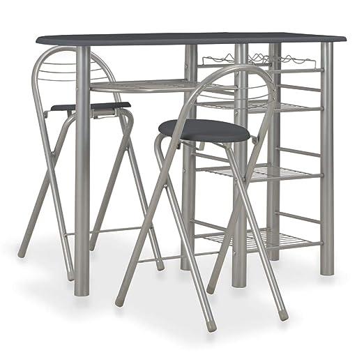 Tidyard - Juego de Mesa y 2 sillas Plegables para Bar de 3 Piezas ...