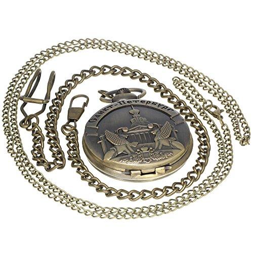 Vintage Cahkt-Netep6ypr Pattern Brass Antique Case Pocket Watch Open Face Fob for Men Women 1 PC Necklace 1 PC Clip Key Rib Chain -