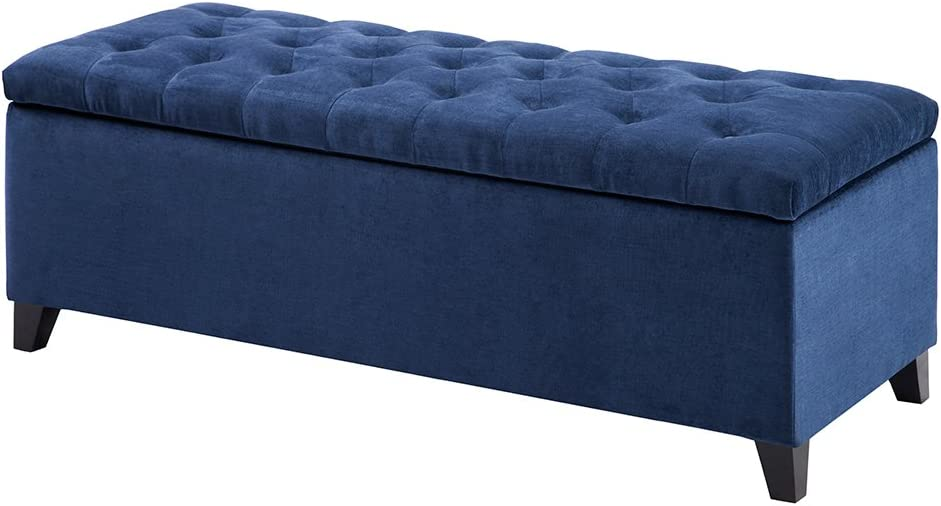 Madison Park FPF18-0143 Shandra Storage Ottoman - Solid Wood, Polyester Fabric Toy Chest Modern Style Lift-Top Accent Bench for Bedroom Furniture, Medium, Navy