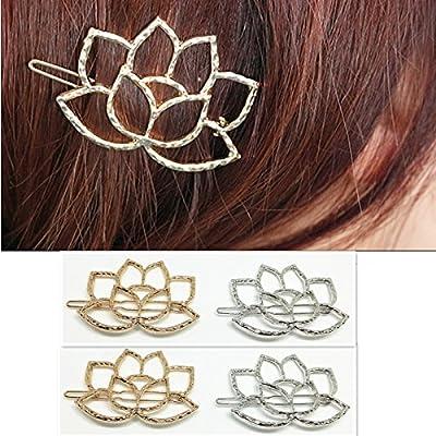 QTMY 4 PCS Metal lotus Flower Hairpin Hair Clips Hair Accessories