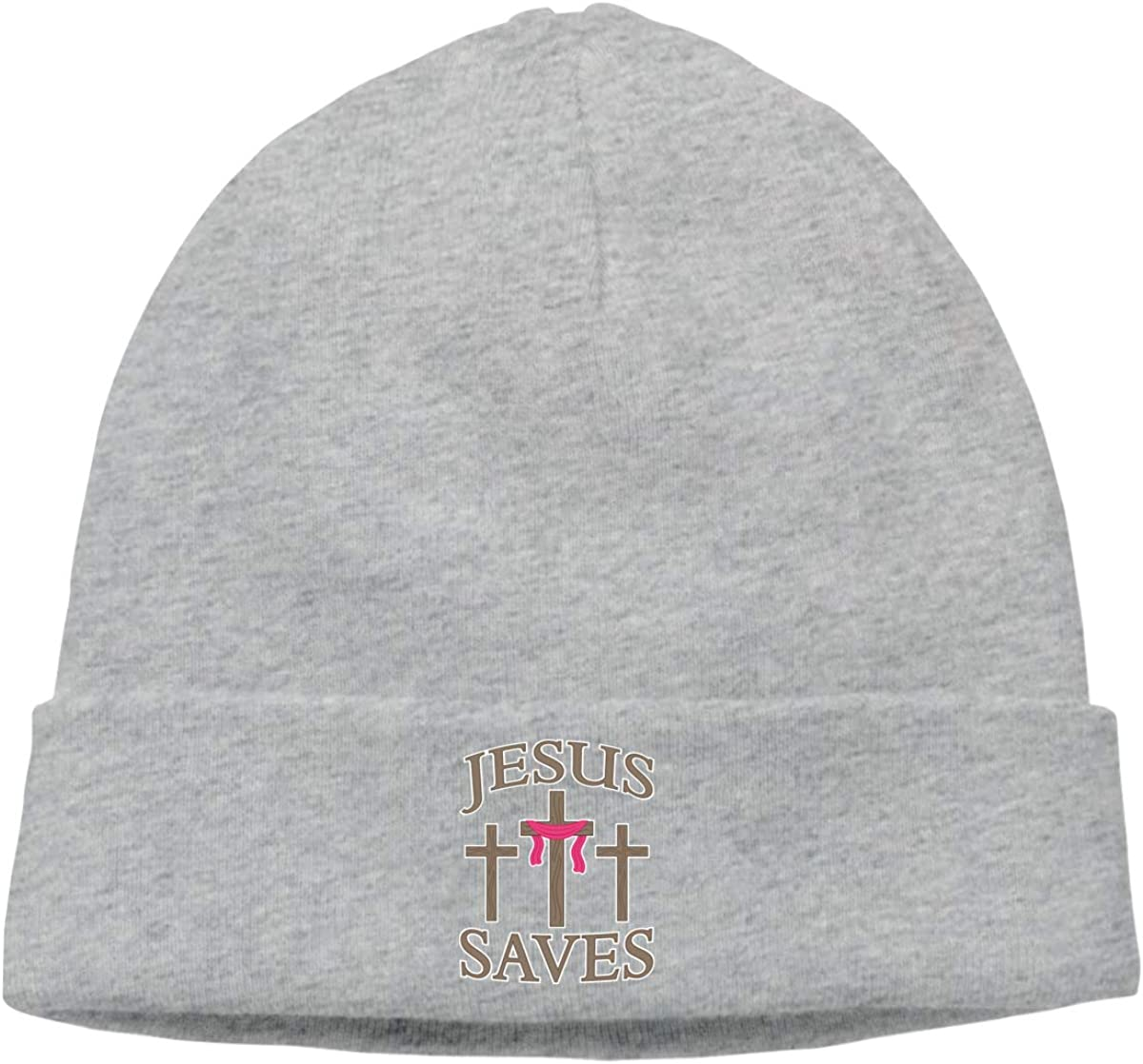 Jesus Cross Save Skull Hat Beanie Caps for Mens Gray