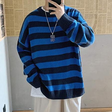ZHOUJIE Suéter de Punto Casual a Rayas para Hombre Camisa de Jersey de otoño con Collage para Hombre Suéter Extragrande con Cuello Redondo para Hombre-Azul Negro_la: Amazon.es: Hogar