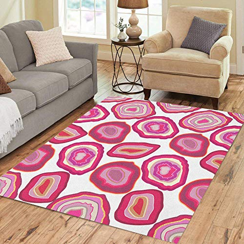 Semtomn Area Rug 3' X 5' Rose Pink Crystal on White Slice of Geode Stone Home Decor Collection Floor Rugs Carpet for Living Room Bedroom Dining Room