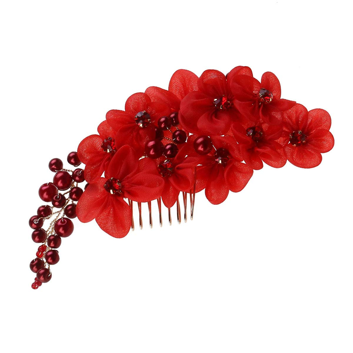 Burgundy orange flower comb,Deep red wedding flower comb,Bridal flower comb,Bridal hair accessoryes,Bridesmaid flower comb,Flower girl comb