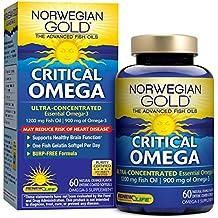 Norwegian Gold - Critical Omega - Omega 3 oil supplement - 60 softgel capsules - Renew Life brand