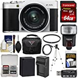 Fujifilm X-A5 Wi-Fi Digital Camera & 15-45mm XC Lens (Silver) with 64GB Card + Battery & Charger + Case + Tripod + Flash + Filter + Kit
