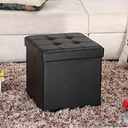 Ollieroo Faux Leather Folding Storage Ottoman Bench Foot Rest Stool Seat Black 15''X15''X15''