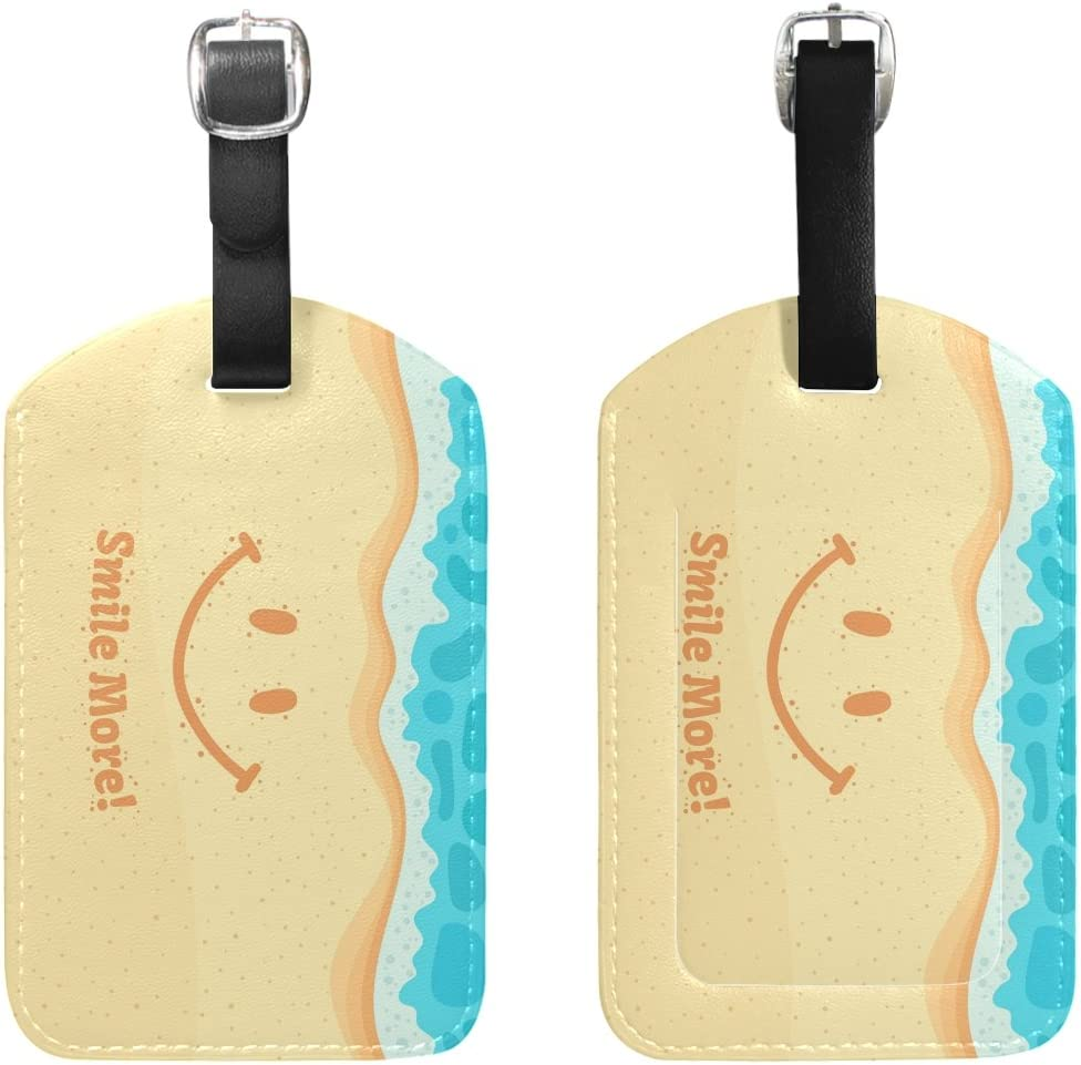 Blue Viper Smile On The Sand With Message More PU Leather Luggage Tags Personalized