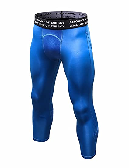 51283c4e03 DZRZVD Men's Compression Running Yoga Training Workout Fitness 3/4 Leggings  Tights YEL6050