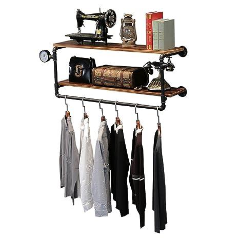 Amazon.com: MinMin Vintage Iron Tube Coat Rack Solid Wood ...
