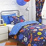 Textile Warehouse Space Explorer Rockets Stars Blue Boys Childrens Duvet Quilt Cover Bedding Set Double