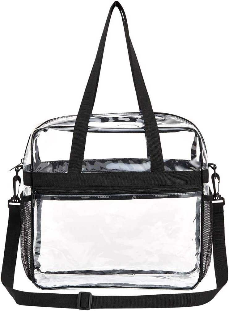 Concerts and Women Men 12 x 12 x 6 Stadium Security Travel /& Gym Clear Bag for Work Clear Bag Waterproof and Lightweight Two Water Bottle holders Sports Games Clear Tote Bag Stadium Approved