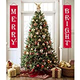 WizPower Christmas Decorations Outdoor Indoor, Merry Bright Porch Sign Red Xmas Decor Banners for Home Wall Door Apartment Party Christmas Supplies