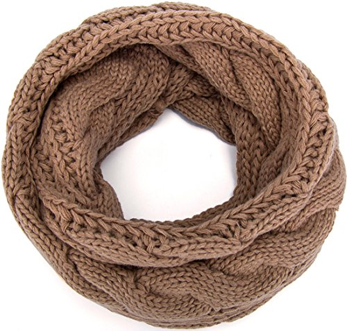 (MOTINE Women's Winter Thick Ribbed Knit Warm Circle Loop Infinity Scarf (Dark Khaki))
