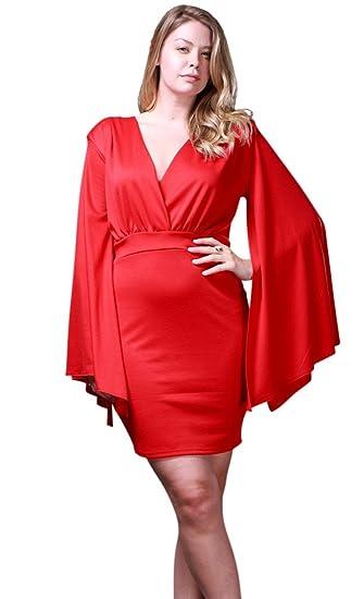 c3711900454 Amazon.com  Nyteez Women s Plus Size Angel Sleeve Short V-Neck Dress   Clothing