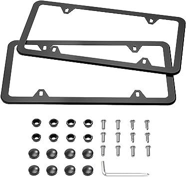 Screw Caps R-LINE 1x R LINE BLACK Stainless Metal License Plate Frame