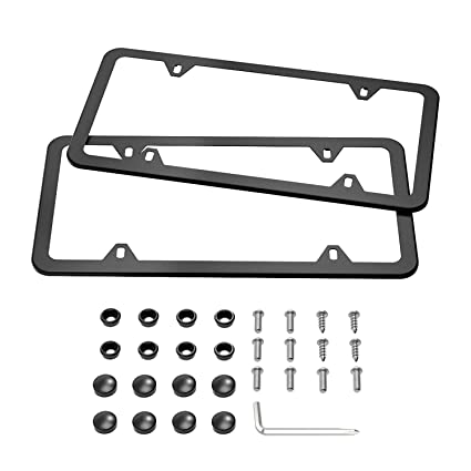 Amazon.com: Karoad Black License Plate Frames, 2 PCS Stainless Steel ...