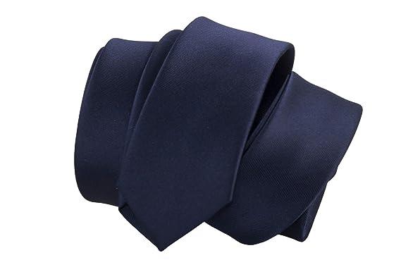 Corbata estrecha hombre mujer azul color sólido corbata slim 5 cm ...