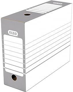 Elba – Juego de cajas archivadoras automáticas 20 unidades, color gris Dos 10 cm