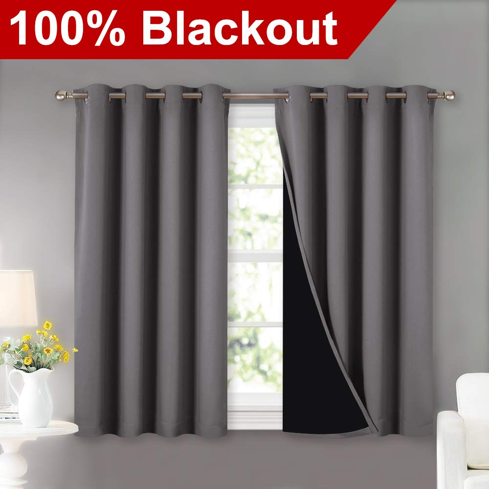 NICETOWN 100% Blackout Curtains with Black Liners, Thermal Insulated Full Blackout 2-Layer Lined Curtains, Energy Efficiency Window Draperies for Dining Room (Grey, 2 Panels, 52'' W by 45'' L)